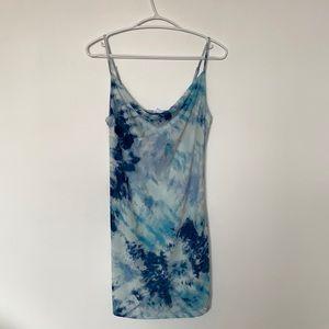Blue Tie Dye Mini Summer Dress
